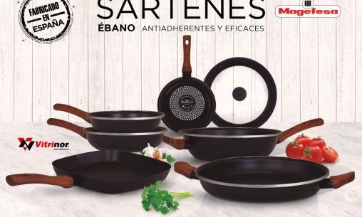 Colección de seis sartenes y tapa de vidrio con Ultima Hora y Magefesa